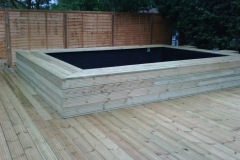 garden decking and summer house